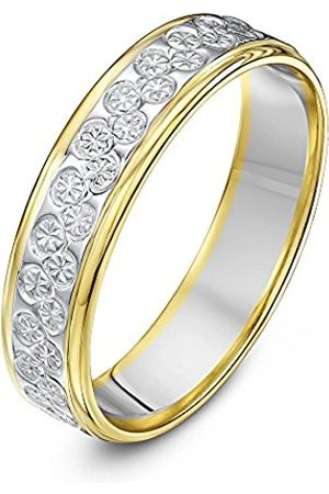 Men Rings - THEIA Heavy Flat Diamond Cut 5 mm 9 ct White and Yellow Gold Wedding Ring - Size S