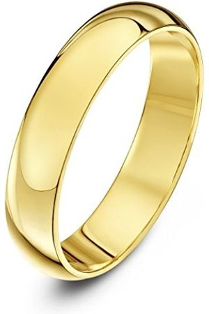 Rings - THEIA Unisex Super Heavy Weight 4 mm D Shape 9 ct Gold Wedding Ring - U