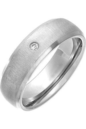 Men Rings - THEIA Titanium Court 0.05ct Diamond Matt 7mm Ring - Size X