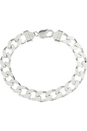 Men Bracelets - Men's Plain Diamond Cut Curb Bracelet, 30cm Length