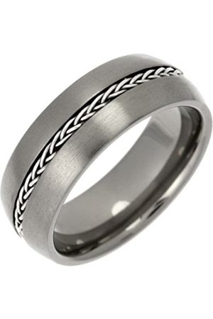Men Rings - THEIA Titanium and Silver Inlay Court Matt Chain 8mm Ring - Size W
