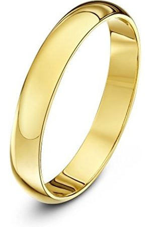 Rings - THEIA Unisex Super Heavy D Shape Polished 18 ct Gold 3 mm Wedding Ring - Size O