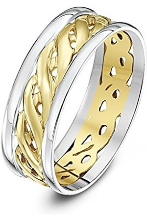 Rings - THEIA Unisex Highly Polished Court Shape Celtic 7 mm 9 ct and Gold Wedding Ring - Size U