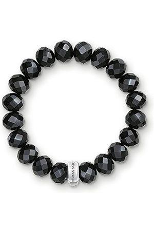 Women Bracelets - Thomas Sabo Women-Charm Bracelet Charm Club 925 Sterling Silver Nylon Obsidian black Length 19 cm X0035-023-11-XL
