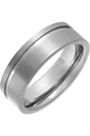 Men Rings - THEIA Titanium Flat Court Side Grooved 7mm Ring - Size X