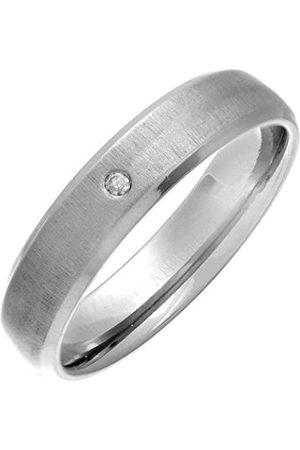 Men Rings - THEIA Titanium Court 0.02ct Diamond Matt 5mm Ring - Size Q