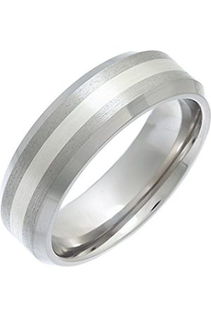 Men Rings - THEIA Titanium and Silver Inlay Flat Court Matt 7mm Ring - Size W