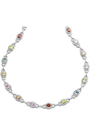Women Necklaces - ORPHELIA Women's Necklace 925 / ooo Sterling 44 CM Multi-Coloured Zirconia