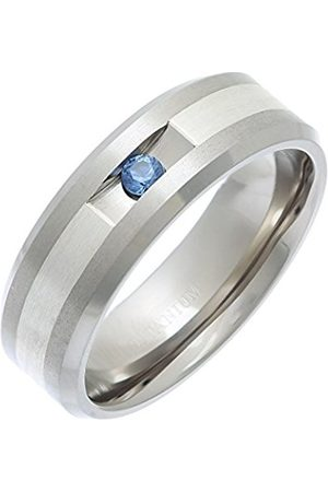 Men Rings - THEIA Titanium and Silver Inlay Flat Court Blue Sapphire Matt 7mm Ring - Size N