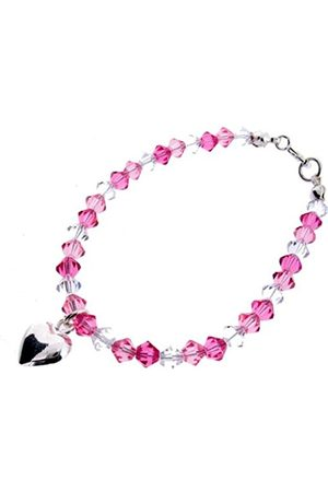 Chic A Boo Children's Heart Charm on Crystal Bracelet CB001 with Rose and Clear Swarovski Crystals 16.5cm