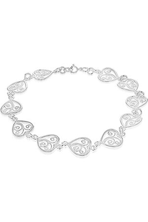 Tuscany Silver Sterling Filigree Heart Link Bracelet of 19cm/7.5""