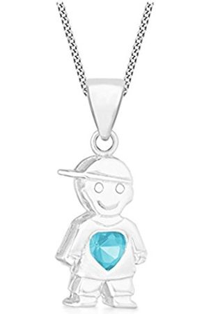 "Boys Necklaces - Tuscany Sterling Blue Crystal Boy/Heart Pendant on Adjustable Curb Chain Necklace of 41cm/16""-46cm/18"""
