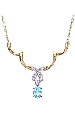 Women Necklaces - Naava Women's Diamond and Blue Topaz Necklace, Prong Set, 9 ct White Gold Trace Chain, 0.05 ct Diamond Weight