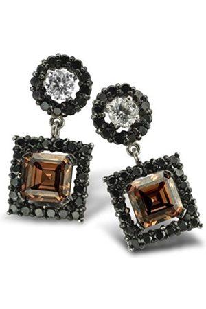 ORPHELIA Women's Earrings 925 / 000 Sterling / Brown Zirconia