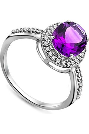 Miore Amethyst Ring9ct GoldDiamond SettingSize Lby JM038R5WM