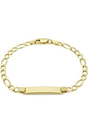 "Carissima Gold 9ct Gold Flat Figaro ID Bracelet of 18cm/7"""