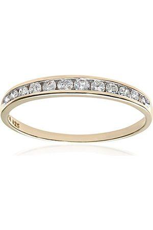 Women Rings - Naava Women's 9 ct Quarter Carat Diamond Channel Set Half Eternity Ring