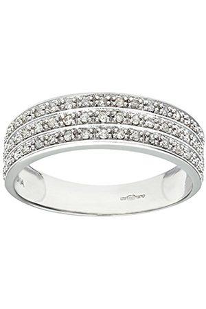 Women Rings - Naava Women's 9 ct White Gold Quarter Carat Triple Row Diamond Half Eternity Ring