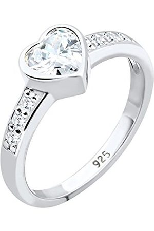 Women Rings - Women 925 Sterling Silver Heart Zirconia Ring - Size Q 0602441312