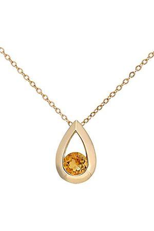 Women Necklaces - 9 ct Yellow Gold 0.20 ct Teardrop Pendant + 46 cm Chain