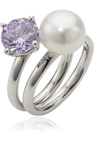 Women Rings - RAR-V-Gr.58 High Lustre White 9.0 mm Round Freshwater Pearl Sterling Silver 925 and Cubic Zirconia Ring Size R