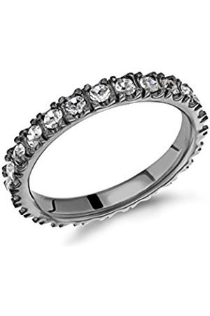 Tuscany Silver Women's Sterling Silver Rhodium Plated 2 mm White Crystal Claw Set Band Stacking Ring
