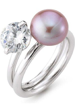 Women Rings - RomanticaR19-54HighLustreMulti-Coloured9.0mmRoundCulturedFreshwaterPearlCubicZirconiaSterlingSilver926RingSizeO