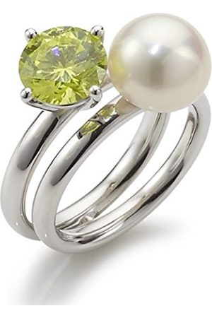 Women Rings - Women's Ring with Freshwater Cultured Pearl lime 925 Sterling Silver Rainbow RAR-G