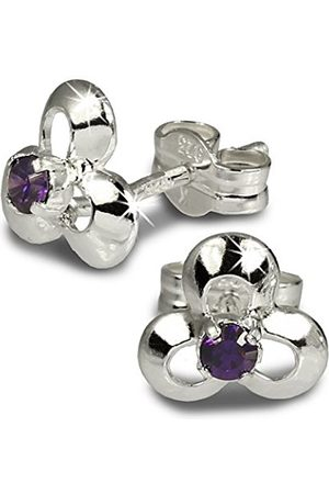 SilberDream Stud earrings in blossom design with Zirconia / 925 Sterling SDO529V