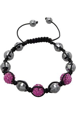 Women Bracelets - Women's Bracelet Shamballa Purple L Adjustable Assorted Stones on Black Fabric Band JCM1155 592