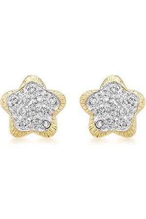 Women Earrings - Carissima Gold 9 ct Gold 0.15 ct Diamond Flower Stud Earrings