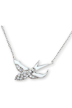 Women Necklaces - Sterling Cubic Zirconia and Enamel Flying Bird Pendant and 42 cm Chain