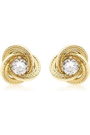 Women Earrings - Carissima Gold 9ct Gold 8mm Knot and Cubic Zirconia Stud Earrings
