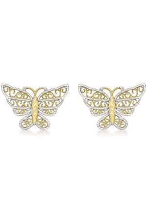 Women Earrings - Carissima Gold 9 ct 2 Colour Gold Diamond Cut Butterfly Stud Earrings