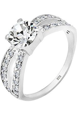 Women Rings - Women 925 Sterling Silver Glamour Swarovski Crystal Ring - Size Q 0610772511