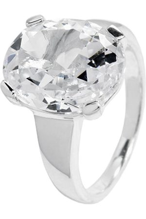 Women Rings - Women's Ring 925 Sterling Silver Rhodium-Plated / Zirconia Crystals in Prong Setting jcm 105–111 oval 17mm
