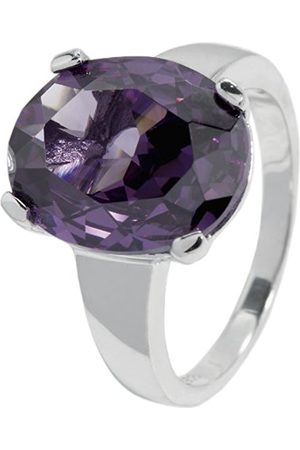 Women Rings - Women's Ring 925 Sterling Silver Rhodium-Plated Cubic Zirconia oval jcm 104–111 in prong setting 19mm