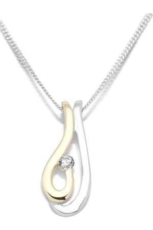 Miore Women Necklaces - 9ct Gold Neckwear 2 Colour Gold Diamond Set Pendant on 45cm Curb Chain MH9027N