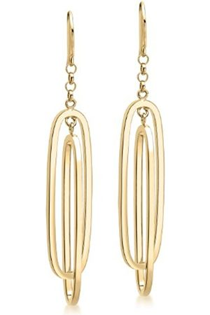 Women Earrings - Carissima Gold 9ct Gold Double Oval Drop Earrings