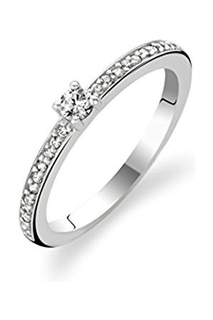 Ti Sento Milano Rhodium Plated Sterling Silver Ring with Cubic Zirconia Stones-1869ZI/52 - Size L
