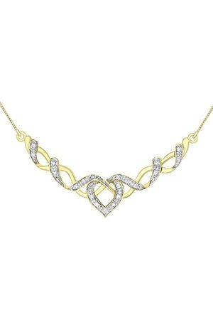 "Women Necklaces - Carissima Gold 9ct 2 Colour Gold 0.10ct Diamond Heart Necklace of 41cm/16"""