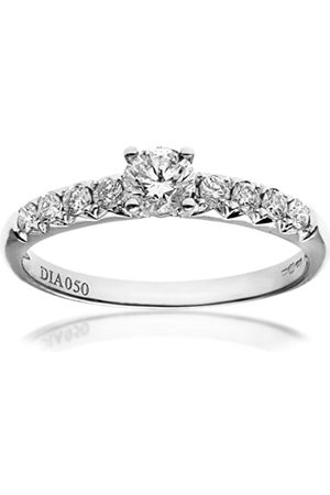 Women Rings - Naava Women's 18 ct White Gold Shoulder Set Engagement Ring, IJ/I Certified Diamonds, Round Brilliant