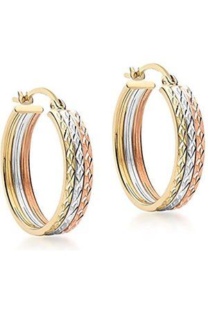 Women Earrings - Carissima Gold 9 ct 3 Colour Gold 18 mm Diamond Cut Creole Earrings