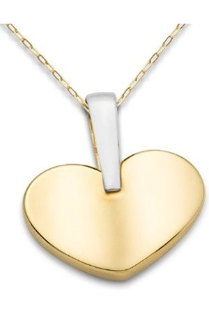Miore 9ct Two Colour Heart Pendant on 45cm Anchor Chain