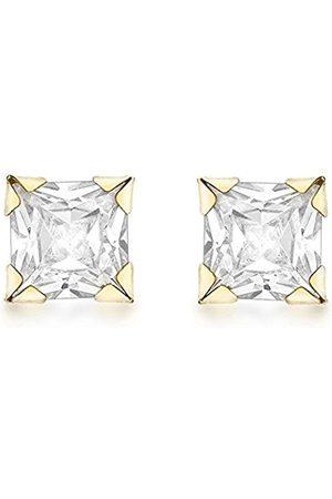 Women Earrings - Carissima Gold 9ct Gold 3 mm Square Cubic Zirconia Stud Earrings