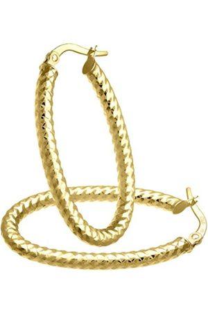 Citerna Diamond Cut Oval Hoop 9 ct Yellow Earrings