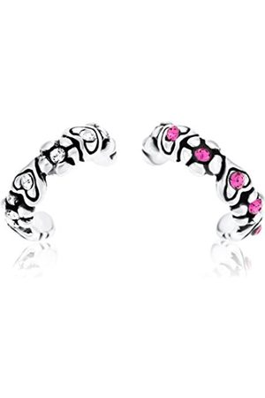 Izmit Set of 2 Sterling Silver Cubic Zirconia Ear Cuffs with Heart Detail Clear and Cubic Zirconia Non Pierced Earring