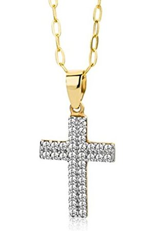 Miore 9ct Zirconia Cross Pendant Necklace on 45cm Chain MA9049ZN