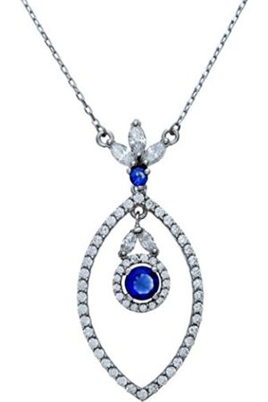 Women Necklaces - Sterling Silver Open Marquise Cubic Zirconia Filled Necklace with a Hanging Round Stone on a 46 cm Chain