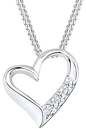 Women Necklaces - DIAMORE Women's Necklace Heart 925 Sterling Silver Diamond 0.06ct